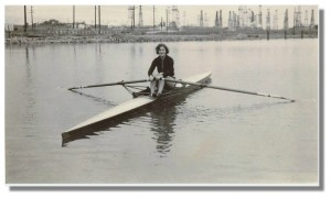 Unidentified woman sculling in the Marine Stadium ca. 1934